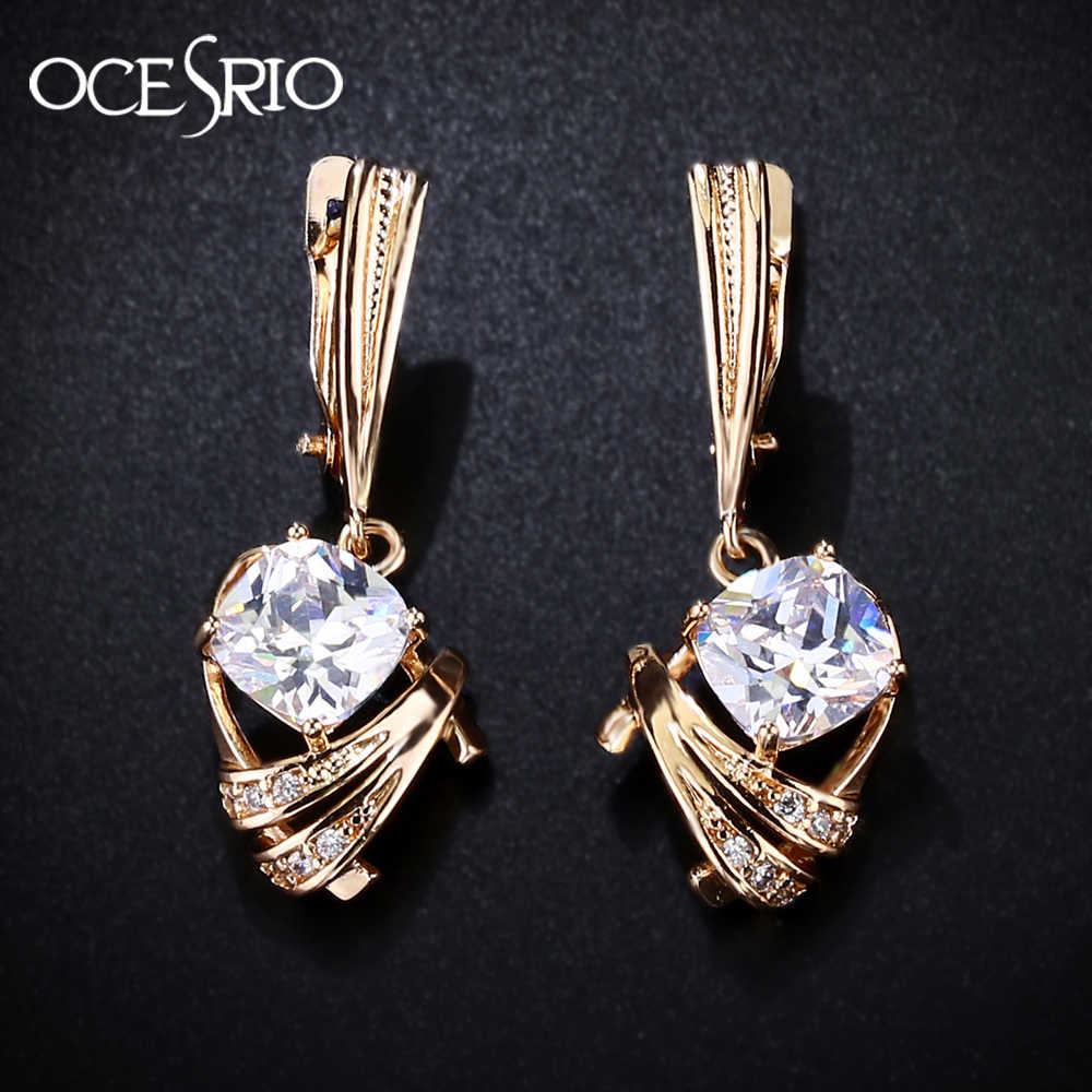 69d2aeb462a3a OCESRIO Gold 585 Zircon Earrings Gold 585 Trendy Square Blue And ...