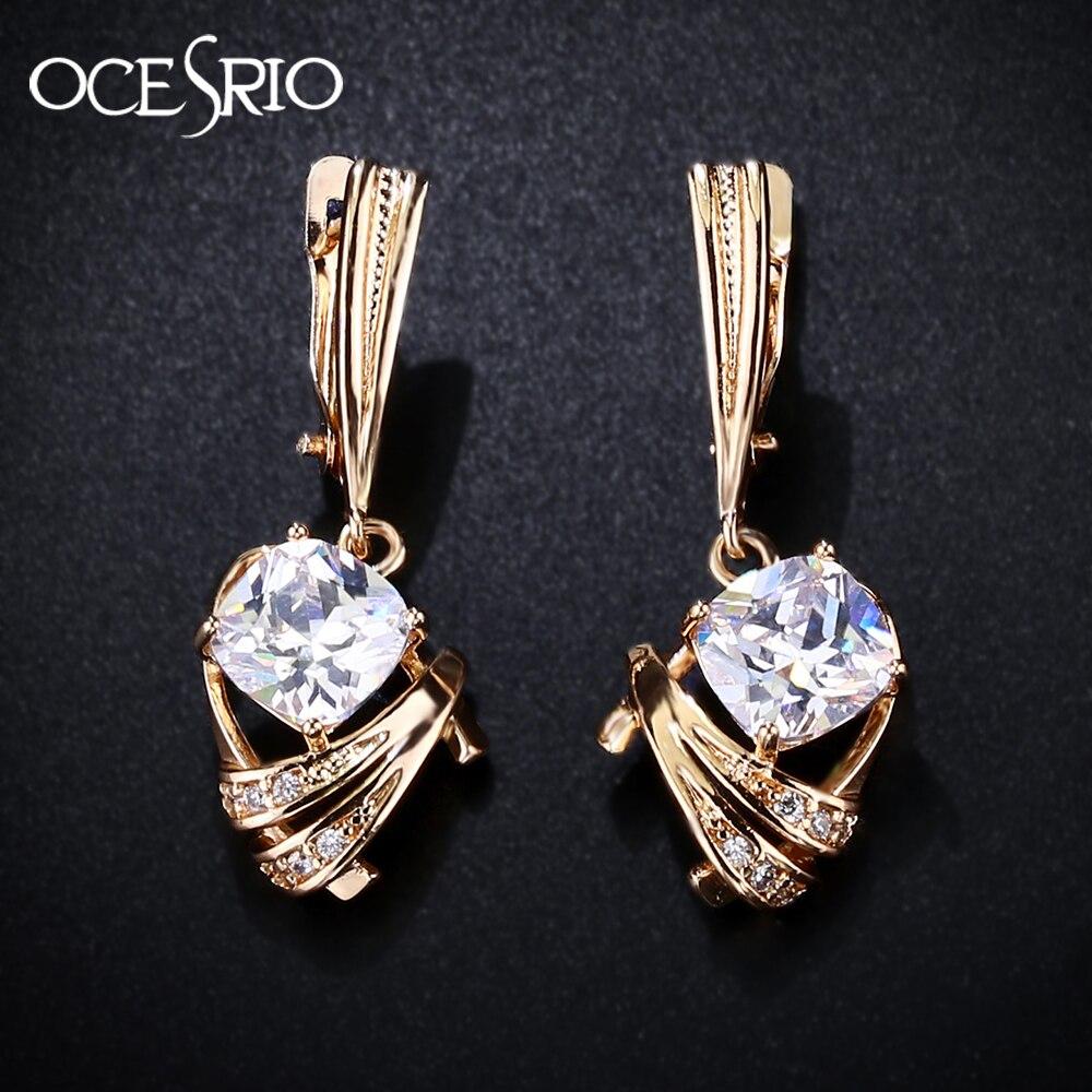 OCESRIO Gold 585 Zircon Earrings Gold 585 Trendy Square Blue And White Zircon Long Drop Earring Women Hanging ers-j53