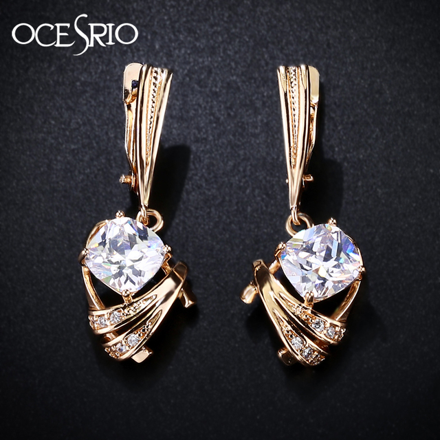 Ocesrio Gold 585 Zircon Earrings Trendy Square Blue And White Long Drop Earring