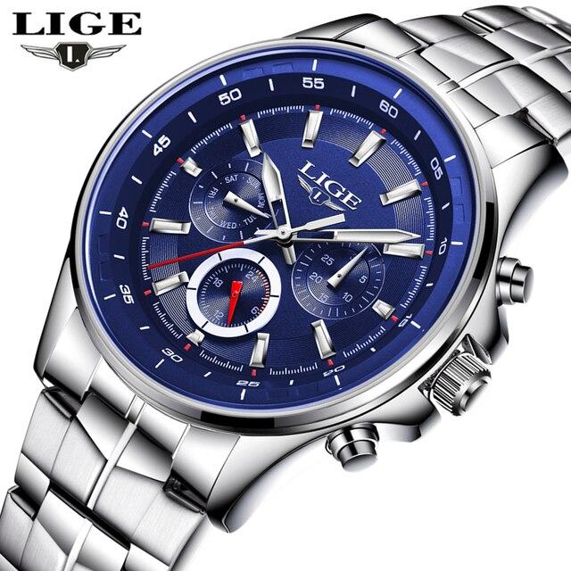 4da2a2a8e17 LIGE Assistir Homens de Negócios Relógio À Prova D  Água Mens Relógios Top  Marca de
