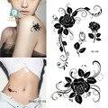 HC1185 Женщины Сексуальные Палец Флэш Поддельные Наклейки Татуировки Черные Белые Цветы Роза Дизайн Переноса Воды Временные Татуировки Наклейки