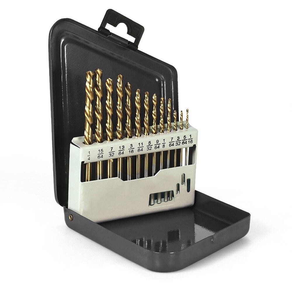 13 piezas izquierda broca M2 HSS con recubrimiento de nitruro de titanio herramientas para eléctrica digital brocas Accesorios