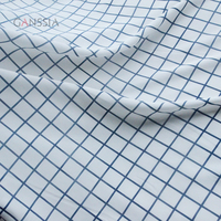 Classic blue plaid design faille fabric for garment White cloth to sew DIY summer dress accessories(ss-7233)