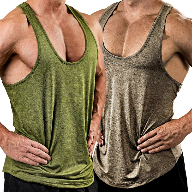 Men Sports Vest Fitness Bodybuilding Tank Top Gym Training Sleeveless Tee Shirt