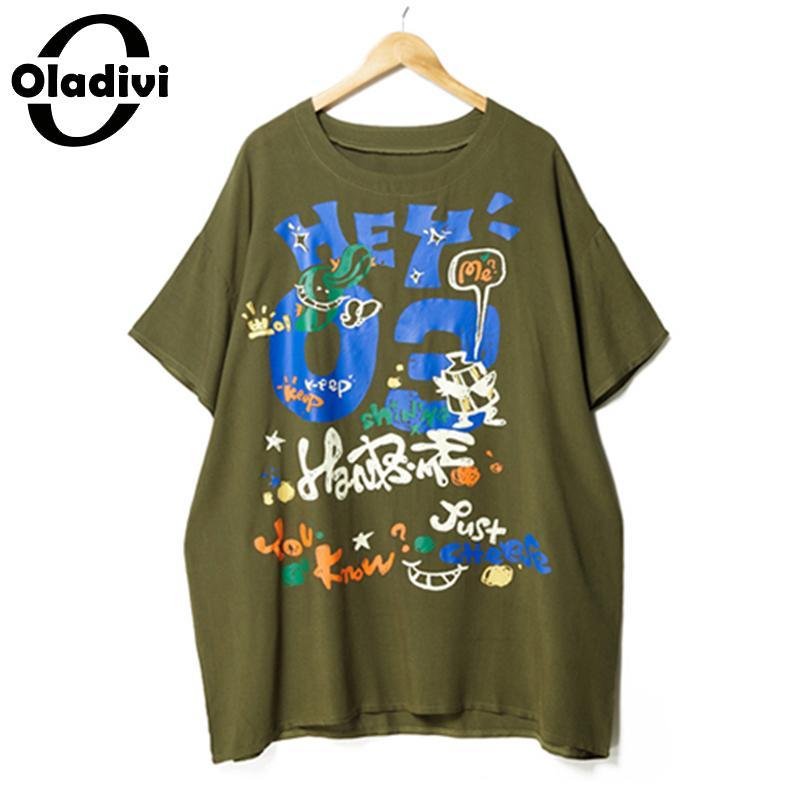 Lâche Femme Surdimensionné Mode Marque Femmes La Vêtements Taille Casual Tuniques Dames Tops Oladivi T Chemise De Plus D'impression Blusas Coton shirts Vert 5XHTqxw