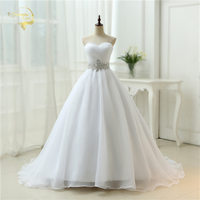 Hot Sale Free Shipping 2015 New Arrival Belt A Line Sweetheart Organza Women Vestidos White Ivory