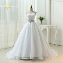 Hot Sale ! Free Shipping ! 2015 New Arrival Belt A line Sweetheart Organza Women Vestidos White / Ivory Wedding Dresses OW 7799