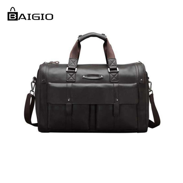 Baigio Men Bag Split Leather Travel Retro Brown Overnight Duffle Bags Best Designer Hand