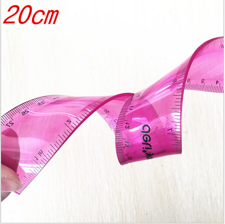 1pcs  Student Stationery Creative Cute Soft Feet Straight Bendable Universal Ruler Ruler 20cm