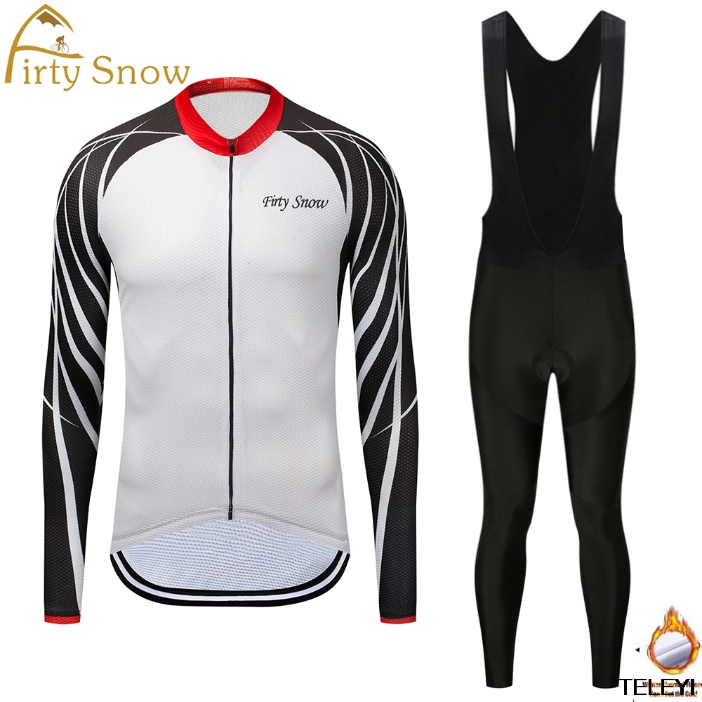 Firty snow Brand 2018 High Quality Bicycle Cycling Winter Thermal Fleece Jersey Long Set Ropa Ciclismo Bike Clothing Pants W007