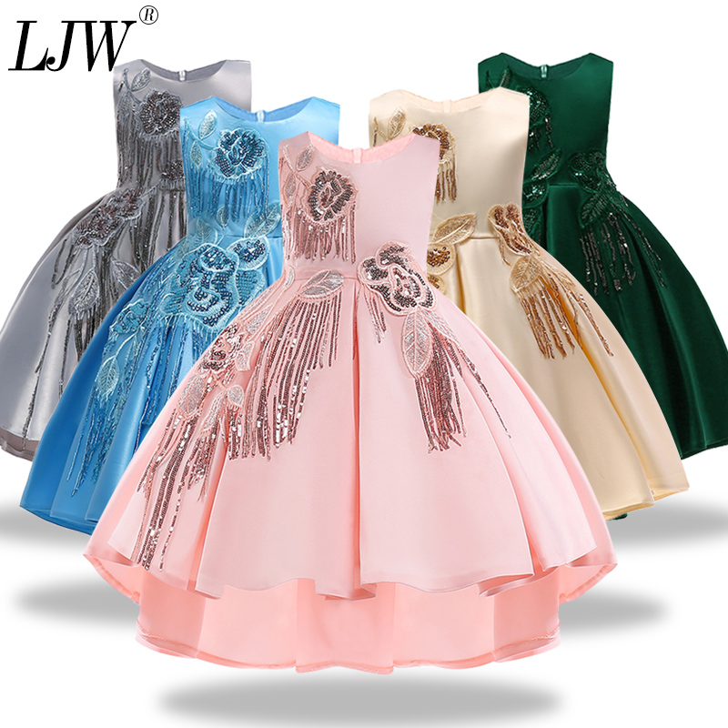 Kids Girls Dresses flower print Big bow Tutu Dress for Wedding Pageant Outfits Princess Party Dress Girls Clothes For 2-10 Y fashion simple evening wedding princess dresses lace flower teenagers dresses for girls dress clothes tutu party dress