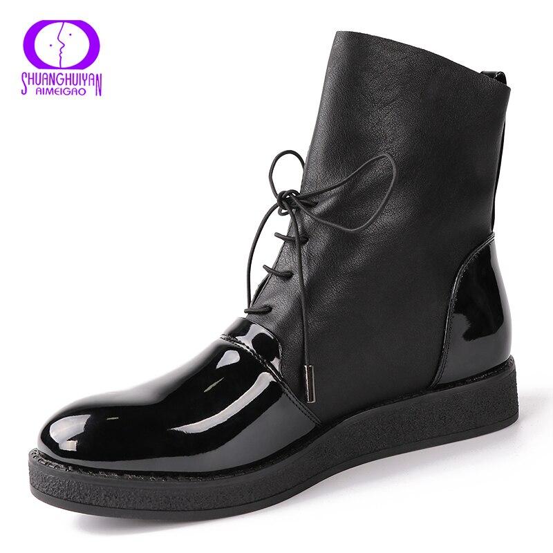 2017 новые пикантные женские ботильоны женская мода из лакированной искусственной кожи женская обувь на платформе плюс Размеры Сапоги и ботинки для девочек для Женская обувь; Botas Mujer