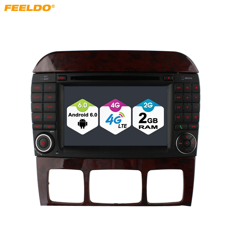 FEELDO 7 inch Android 6.0 (64bit) DDR3 2G/16G/4G LTE Quad Core Car DVD GPS Radio Head Unit For Mercedes Benz S W220 S280/S320