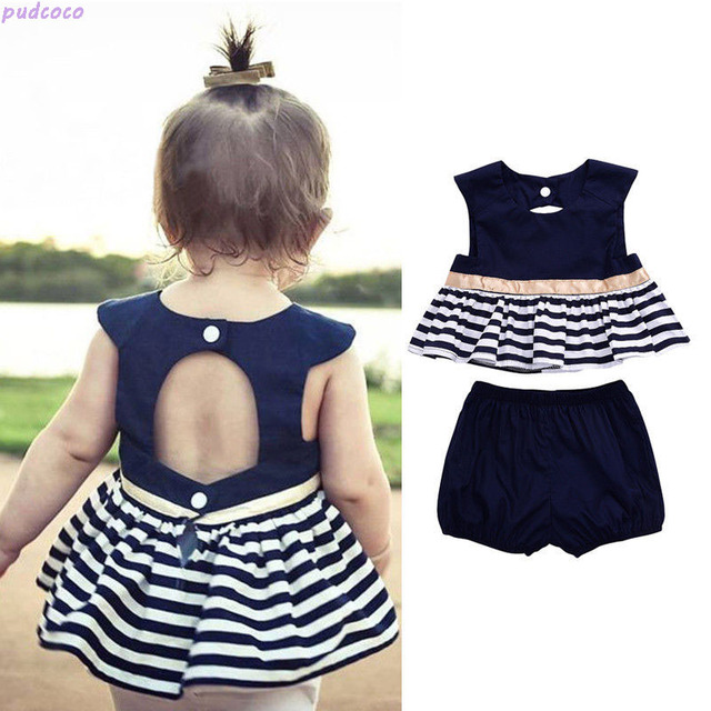 72195632d 0-18M Summer Newborn Baby Girl Clothing Sets Navy Blue Striped Dress Top  Pants Outfit 2Pcs Lovely Infant Baby Set Clothes