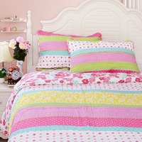 FADFA Cotton Patchwork Bed Quilt Sets Twin Full Queen Size Pink Polka Dot Striped Floral Quilt Set Comforter Bed Bedding Sets