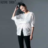 [AZURESHEN] Customization 2018 Summer New Fashion All match Lace Personality Half Sleeve Hollow Out Round Neck Lady Shirt AZC69