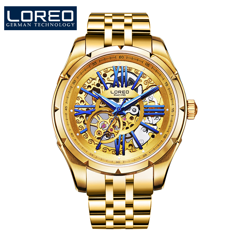 LOREO The newest hollow automatic mechanical fashion leisure waterproof luminous stainless steel gold men s font