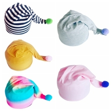 New Baby Boys Girls Kids Solid Stiped Fur Ball Double-Layer Hand-Tailed Hats Newborn Infant Soft Cotton Spring Autumn Cute Caps