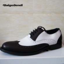 Clearance Sale !! US 8 Men Retro Genuine Leather Black and White Fretwork Pointed Toe Oxfords Wing Tip Brogue Shoes Eur Size 41