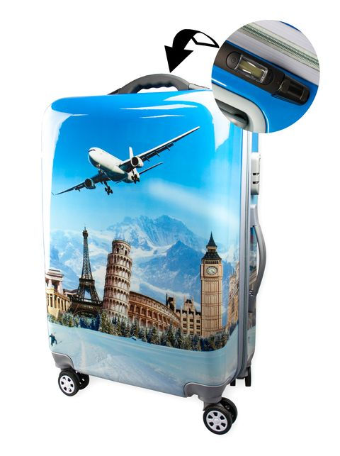 Fashionable suitcase with print PROFFI TRAVEL PH8648 M plastic medium with built-in scales fashionable suitcase with print proffi travel ph9209 m plastic medium with combination lock