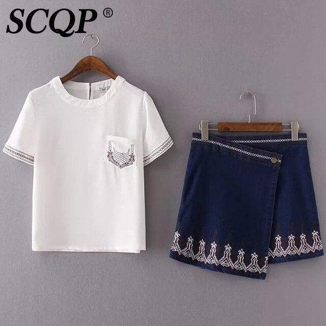 SCQP Elegante Bordado Blanco Tops Y Denim Skrits 2 Unidades Set las mujeres de Manga Corta Cuello de O Algodón Y Mezclilla Skrit Y Superior conjunto