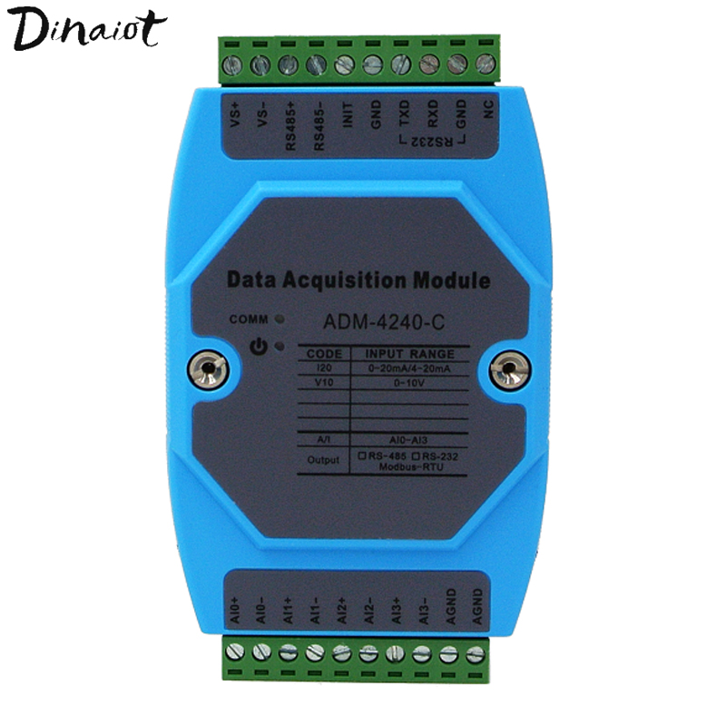 Data Acquisition Monitoring Module 4 Channel Analog Signal 0 20mA/4 20mA to RS485 Modbus RTU protocol for PLC DCS