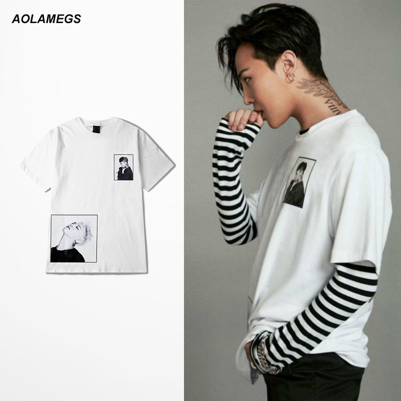 Summer New Korean Men Tshirt Loose Ripped Holes Tshirt Round Neck