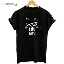 Cat Nerd T-Shirt -Print Print Women tshirt Cotton Casual Funny t shirt For Lady Girl Top Tee Hipster Tumblr Drop Ship