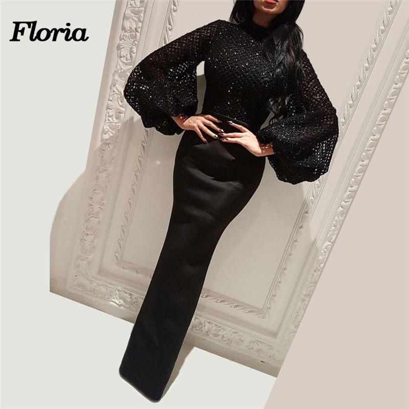 New Arabic Muslim   Evening     Dresses   Turkish In Dubai African Lebanon Big Sleeves Mermaid Prom Party   Dress   glitter Moroccan Kaftans
