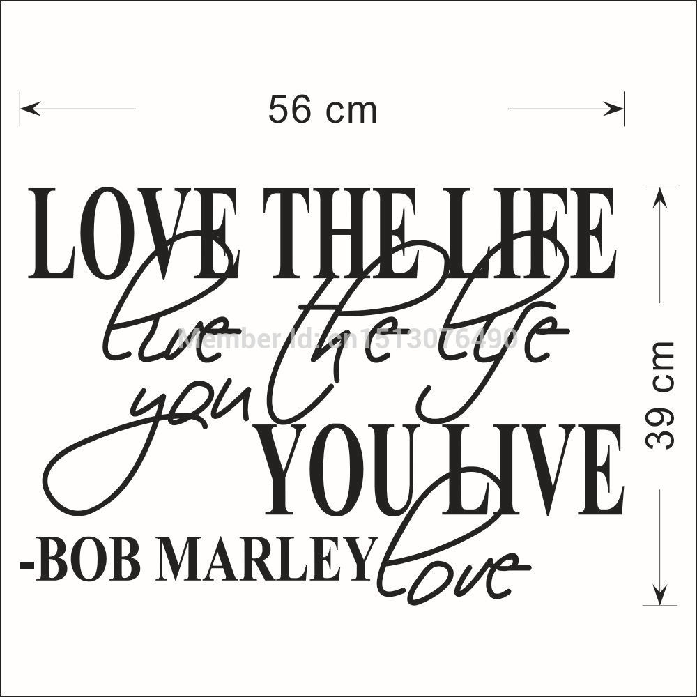 Bob Marley Quote Wall Decal Decor Love Life Words Nice Sticker Text Quote Stickers Vinyl Wall Art Decals Home Decor in Wall Stickers from Home