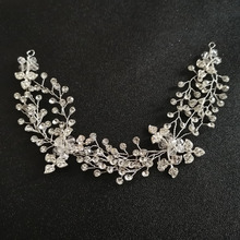 SLBRIDAL Handmade Silver Crystal Rhinestone Pearls Wedding Hair accessories Hair Vine Hairband Bridal Headband Women Jewelry