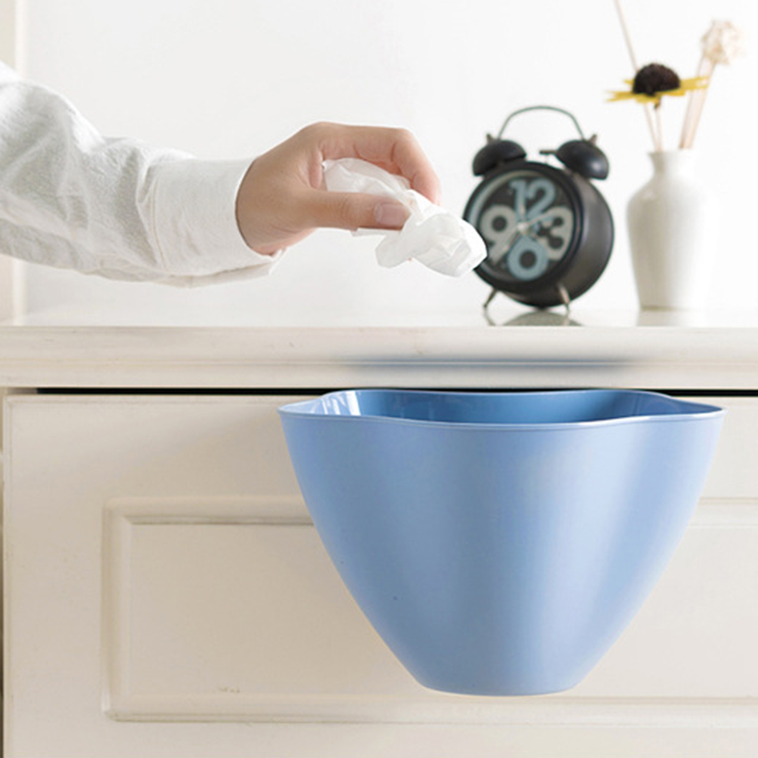 HIPSTEEN 2PCS Mini Hanging Type Kitchen Trash Can Creative Plastic ...
