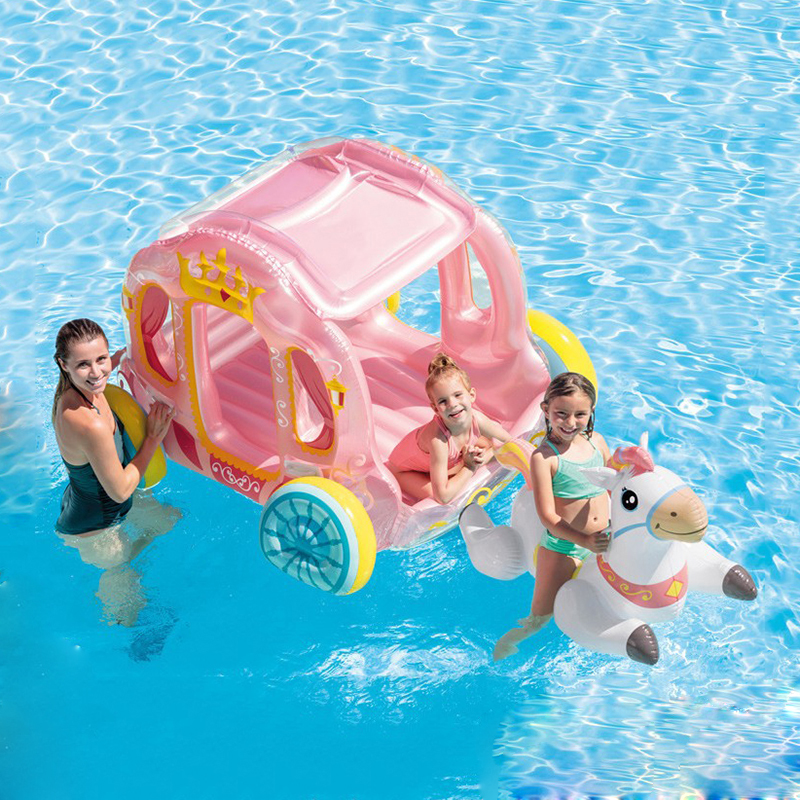 Home Water Use Children Inflatable Pink Princess House Castle Ride On Unicorn Pool Float Island Fun Air Raft Boat