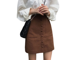 Spring autumn women's Korean high waist single breasted skirt A word short sexy skirt student bag hip woman high waist skirt