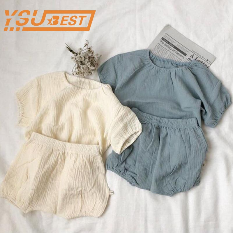 Baby Boys Girls Suits 2019 Summer Fashion Kids Girls Boys Sets Linen Casual Sets Tops+shorts Cute Baby Toddler Clothing Sets