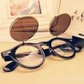 Бесплатная доставка 2016 Новая Мода очки Женщины мужчины Мода ретро панк двухэтажных округлость Солнцезащитные Очки лето 4 цветов очки