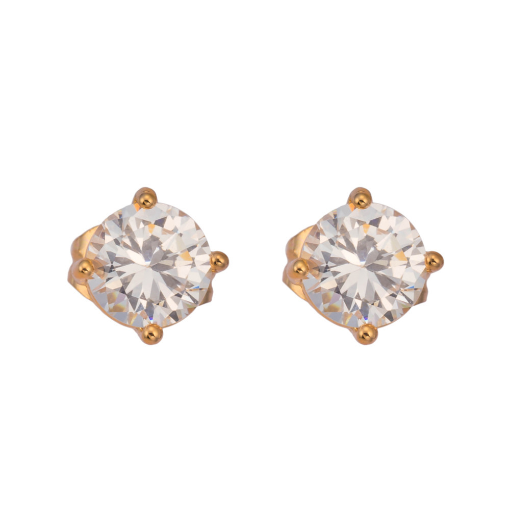 Gussiarro Lovely Fashion Gold-Color Color Round Austria 2 Carat Crystal Stud Earrings for Women Dance / Party Accessories