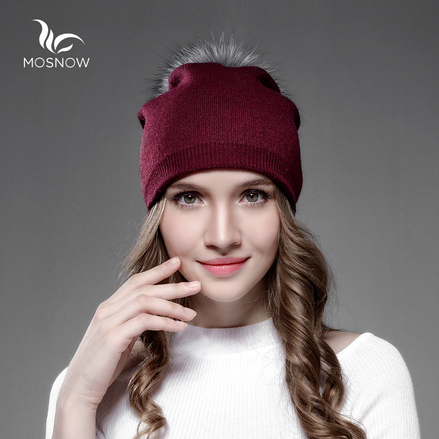 Beanies New Wool Winter Fur Hats For Women Silver Fox Fur Pom Poms Brand Warm Casual Vogue Knitted  Hat Female Skullies