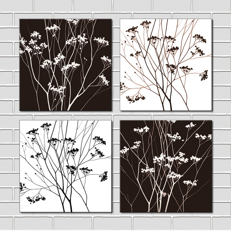 4 piece black white tree modern wall art hd pictures canvas art print wall pictures for living room unframed in painting calligraphy from home garden on