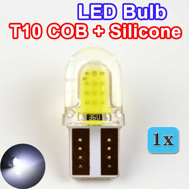 Flytop Auto LED T10 COB + Silicone Shell 20 Chip Dingin Warna Putih W5W 12 V CANBUS Mobil Sisi Wedge /License Plate Lampu Bohlam