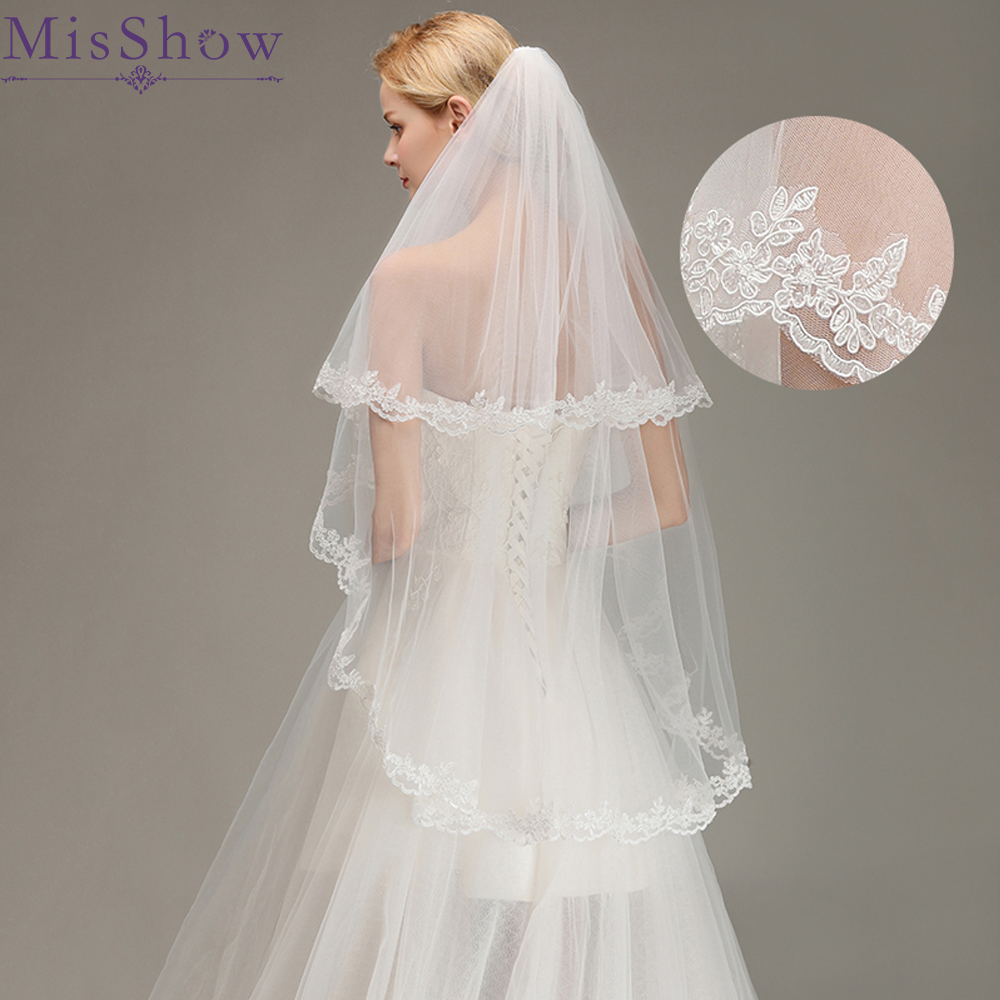 Stock Romantic Short Wedding Veils Two Layer 100 Cm *150 Cm With Comb White Veil For Wedding Bridal Party Tulle Veil