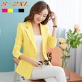 2016 blazer femininos Blazer Female Laper Single Button Long Sleeve Suit Jacket Cardigan Yellow Blazer Plus Size S-XXL C5405
