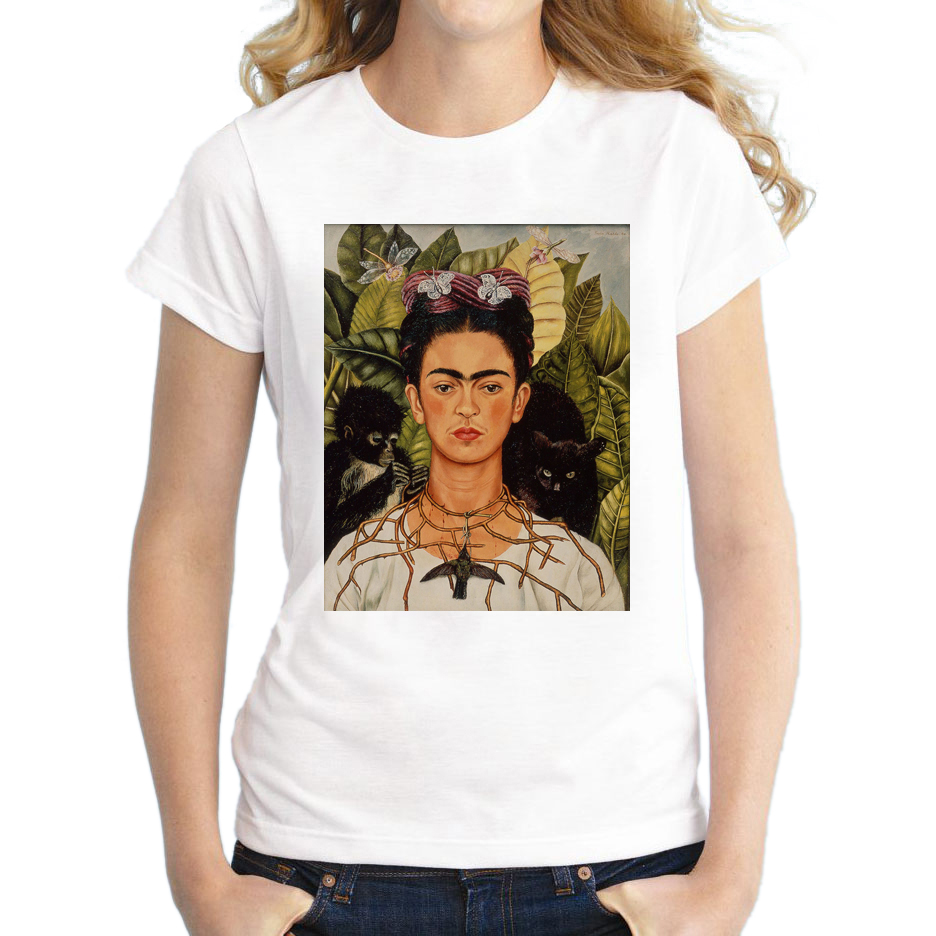 2017 hot sale women t shirt short sleeve t shirt novelty tee vintage frida kahlo printed casual - Tee shirt sexy ...