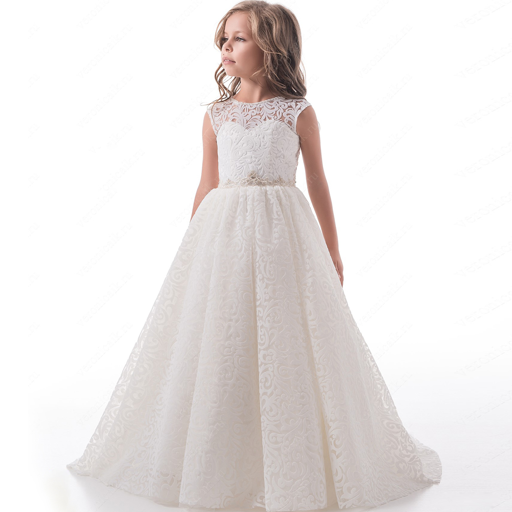2017 New Arrival Flower Girl Dresses Crystal Belt Sleeveless Appliques Ball Gown O-neck Birthday Communion Gowns Vestidos Longo