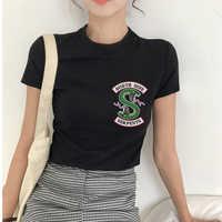 CZCCWD 2019 Mulheres Novo Ulzzang Harajuku Moda Southside Riverdale T Camisa de Cobra Impressão TShirt Mulheres Tumblr Streetwear Top Verão