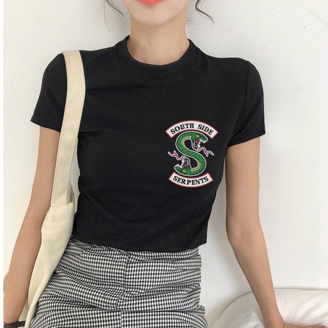 8d8eb13a6c CZCCWD 2019 Women New Ulzzang Harajuku Fashion Southside Riverdale T Shirt  Snake Print TShirt Women Tumblr Streetwear Summer Top