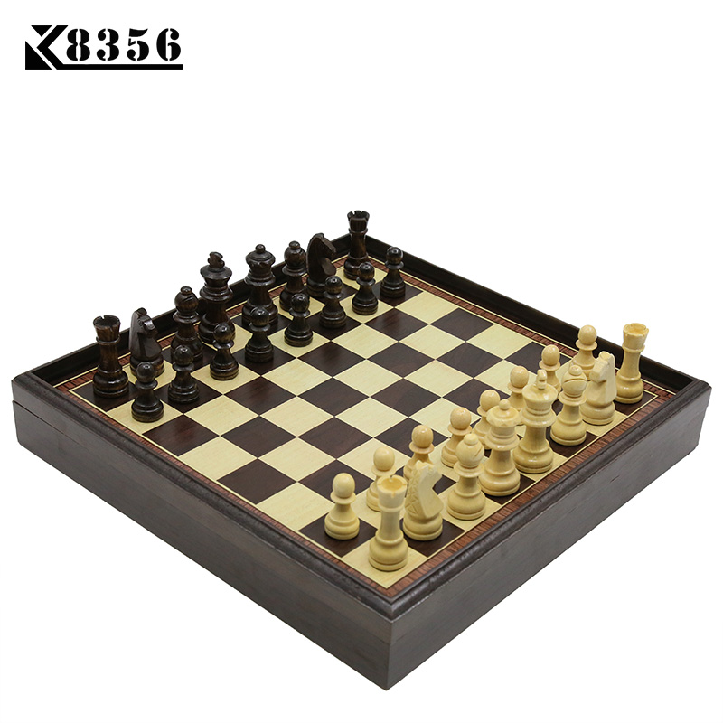 K8356 Hot Board Game Wooden Chess Set Box Wooden Table Environmental Protection Natural Green Water Paint Desktop 310*310*53mm