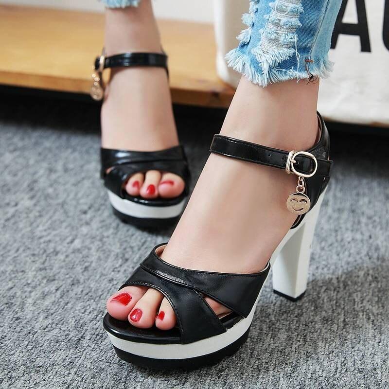 ФОТО 2016 Ankle Straps Chunk High Heels Women Gladiator Sandals Brand Design Summer Shoes Open Toe Platform Sandals Shoes