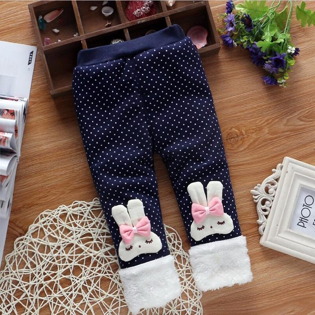 BibiCola girls warm pants baby casual winter pants toddler Thicken warm Leggings trousers trousers for girl 0-2 years old