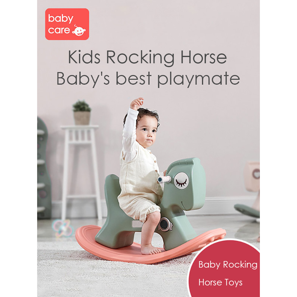 Baby Rocking Horse Ride on Toys 3 in 1 Kids Household Walker Birthday Gift Thick Plastic Safe Riding Roller Toy for 1 Year Old